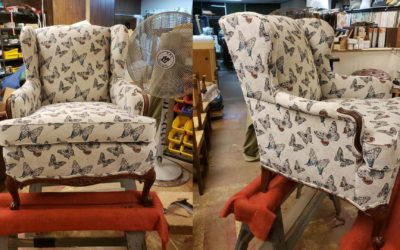 Vintage Chair Restored Using Butterfly Fabric