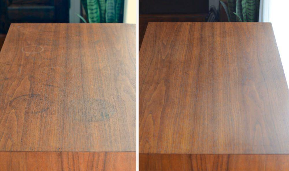 how to get rid of water stains on a wooden table